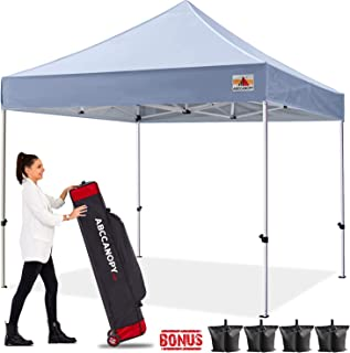 ABCCANOPY Canopy Tent Pop up Canopy Outdoor Canopy Commercial Instant Shelter with Wheeled Carry Bag, Bonus 4 Canopy Sand Bags, Gray