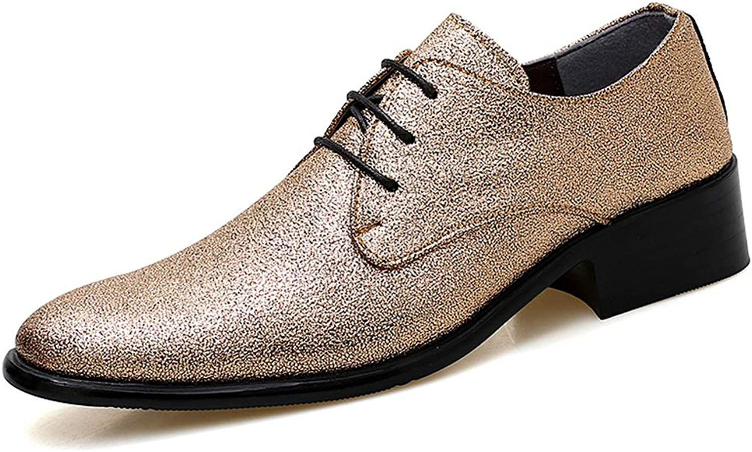 CHENDX shoes, Men's Fashion Low Top Lace-up Oxford Casual Personality colorful Stylish Men Pointed Toe Formal shoes (color   gold, Size   8 UK)