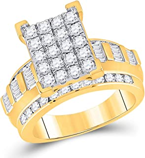 FB Jewels 10kt Yellow Gold Womens Round Diamond Cluster Bridal Wedding Engagement Ring 1-1/2 Cttw Size 7