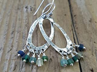 Ancient Roman Glass and Sterling Silver Earrings