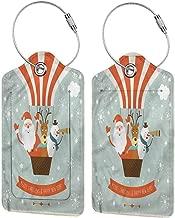 Baggage Travel Tag, Luggage ID Tag, Stainless Steel Loop Santa Hot Air Balloon Retro (1,2 & 4 Pack)