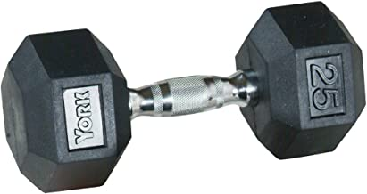 York Barbell Rubber Hex with Chrome Ergo Handle