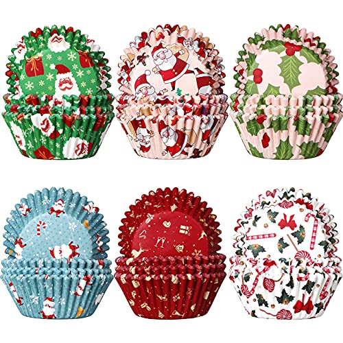 600 Pieces Christmas Cupcake Wrappers, Santa Claus Cupcake Liners, Snowman Cupcake Cups, Xmas Colorful Paper Baking Cups for Cake Candy Make Baking Supplies, 6 Styles (Classic Styles)