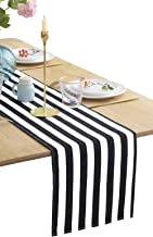 BOXAN Classic Black and White Striped Table Runner, Modern Stripes Pattern Elegant Cotton Canvas Table Top Decor for Art Deco Wedding, Bridal Shower, Bachelorette Party Decorations, 12