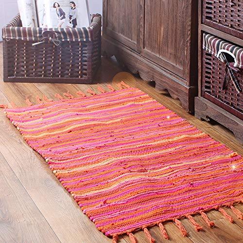 Teppiche für Wohnzimmer Sofa Bereich Dekoration Mediterranen Stil Streifen Muster Quaste Dekoration Mode Design 100% Baumwolle Multi Verwendung(Orange,50x80cm)