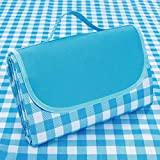 Supzone Family Picnic Blanket Foldable 57'x 79' Large Picnic Mat Outdoor Thick Waterproof Sandproof Picnic Blanket Mat for Spring Summer Park Outing Grass Beach Camping Mat-Blue White Classic Plaid