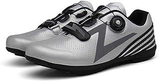 Heren Fietsschoenen Racefiets Fietsschoenen Vrije Tijd Reflecterende Microfiber Mountainbike Schoenen,Silver-361/3EU