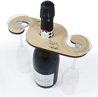 Azeeda 'Highland Cow' Wooden Wine Glass / Bottle Holder (GH00019829)