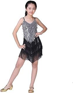 Girls Dancing Dresses, Sequin Tassel Skirt Latin Dance Costumes for Kids, Salsa Ballet Tango Rumba Ballroom Dancewear