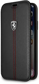 CG Mobile Ferrari Bookstyle Genuine Leather Case for iPhone X and iPhone Xs Hard Cell Phone Cover with Contrasting Red Sti...