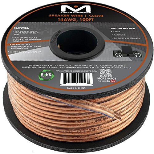 Mediabridge 14AWG 2-Conductor Speaker Wire (50 Feet, Clear) - Spooled...