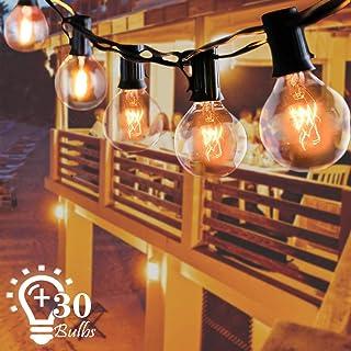 Guirnaldas luminosas de exterior, G40 9.5 M Cadena de Luz con 27 Bombillas Perfecto Decoración para Jardín Patio Dormitorio Trasero Fiesta Navidad Boda