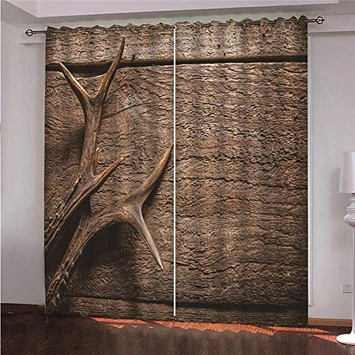 CLYDX Kids Blackout Curtains for Bedroom 3D Printed Thermal Insulated Curtains Eyelet Blackout Curtains for Bedroom 2 * W43 x L84 - Brown Antlers