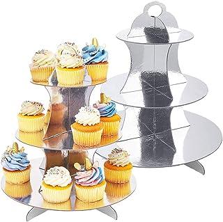 JINLE 2 Unidades Soporte de Magdalenas de Cartón 3- Nivel, Soporte para Cupcakes Postre de Plata para Baby Showers, Cumpleaños, Fiesta