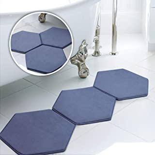MICRODRY Memory Foam HD Modular Bath Mats 3-Piece Set with GripTex Skid-Resistant Base, 19x17, Medium Blue