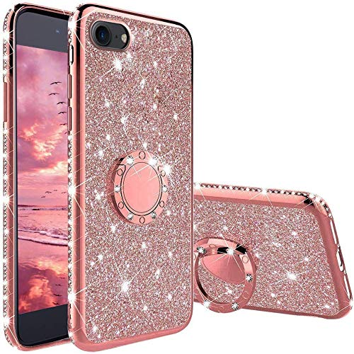 TVVT Glitter Crystal Funda para iPhone 7 / iPhone 8, Glitter Rhinestone Bling Carcasa Soporte Magnético de 360 Grados Ultrafino Suave Silicona Lujo Brillante Rhinestone - Rosa