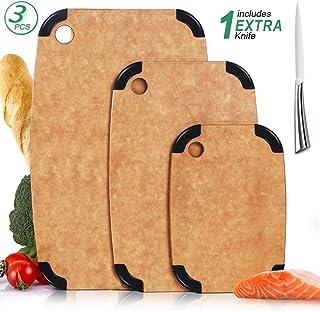Masthome Juego de 3 Tablas de Cortar de Fibra de Madera con Agujero para el Pulgar,con 1 Cuchillo,Sin BPA,Ideal para Carne,Verduras y Queso