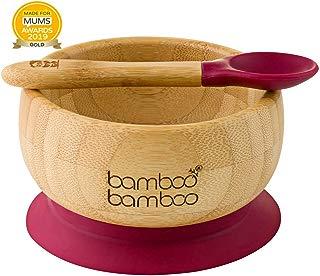 Set de Bowl adherente y cuchara para bebé en combinación, Bowl que no se despega de la mesa al comer, Bambú natural (Cereza)