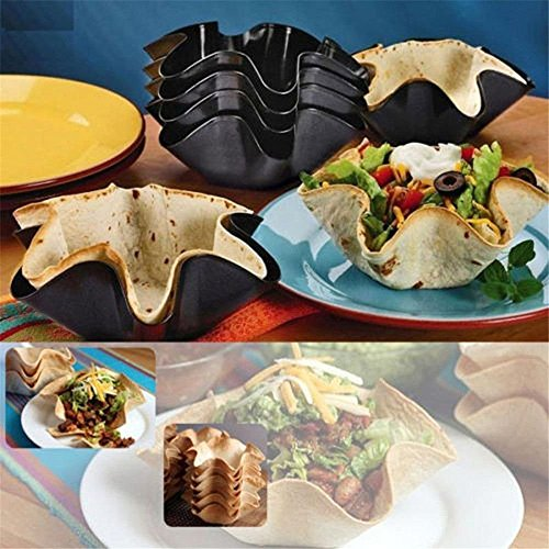 6 Inch Large Non-Stick Fluted Tortilla Shell Pans, Yvonne Taco Tortilla Pan Bowl Salad Shell Mold, Carbon Steel Baking Bowl Makers Cookie Art Decoration