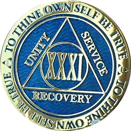 RecoveryChip 31 Year Reflex Blue Free shipping anywhere in the Mail order nation Medallion Gold Plated Alcoho AA