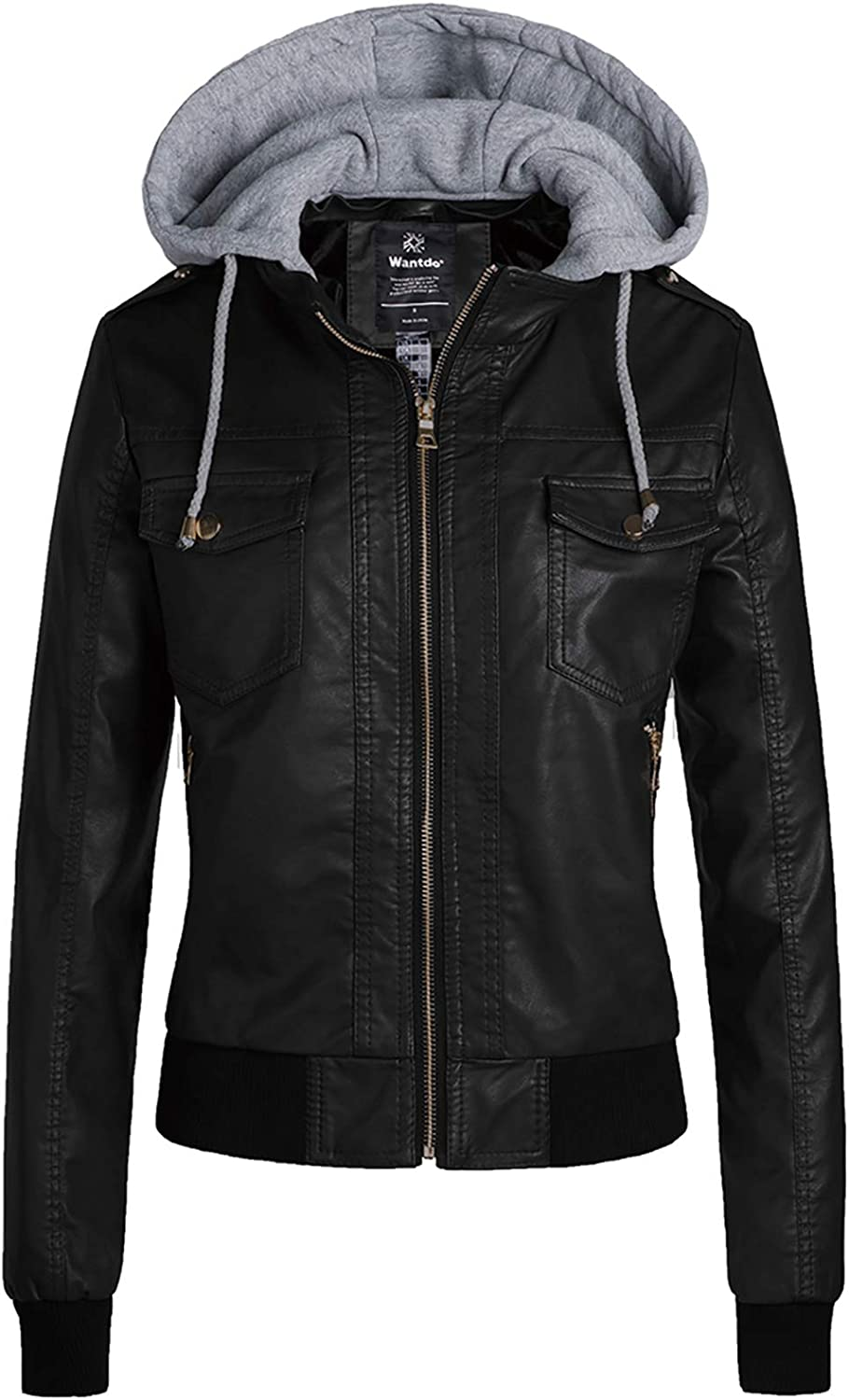 Wantdo Womens Plus Size Faux Leather Jacket Casual Motorcycle PU Biker Coat with Removable Hood