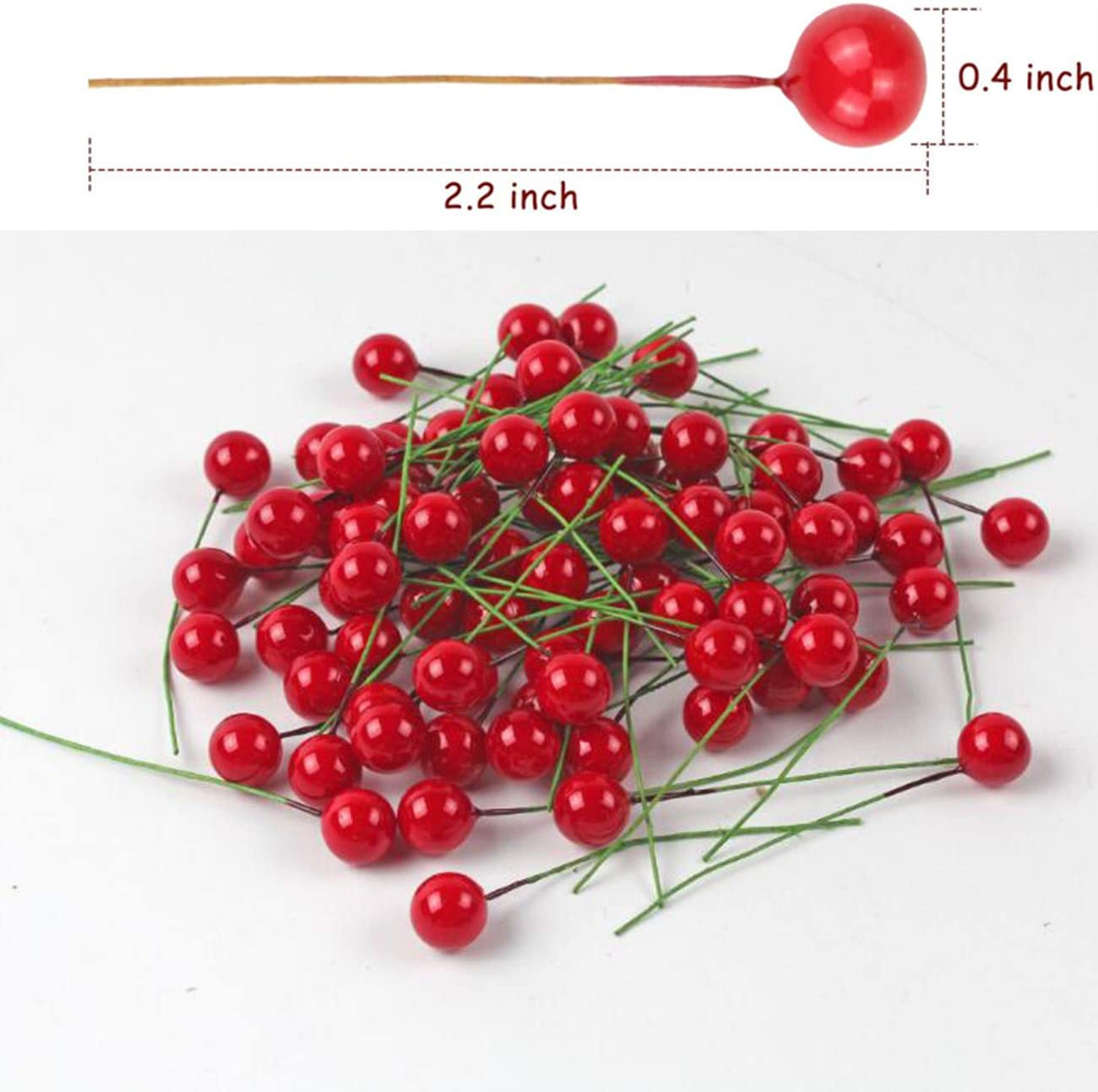 Gold 200 Pieces Mini 10 mm Fake Berries Decor on Wire for Christmas Tree Decorations Faux Greenery Decor Berry Garland Flower Wreath DIY Crafts Use Artificial Holly Berries