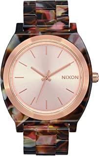 NIXON Time Teller Acetate A327 - Rose Gold/Pink Tortoise Acetate Analog Watch