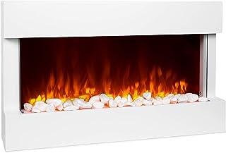 KLARSTEIN Studio 1 Chimenea eléctrica - 1000/2000 W, Efecto Llama LED, Control Remoto, Termostato: 10-30 °C, Temporizador, Detección Ventanas Abiertas, Protección sobrecalentamiento, MDF, Blanco