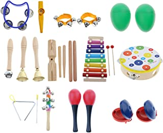 Flameer 19pcs Toddler Musical Instruments Set Percussion Toy Rhythm Band Wooden Toy