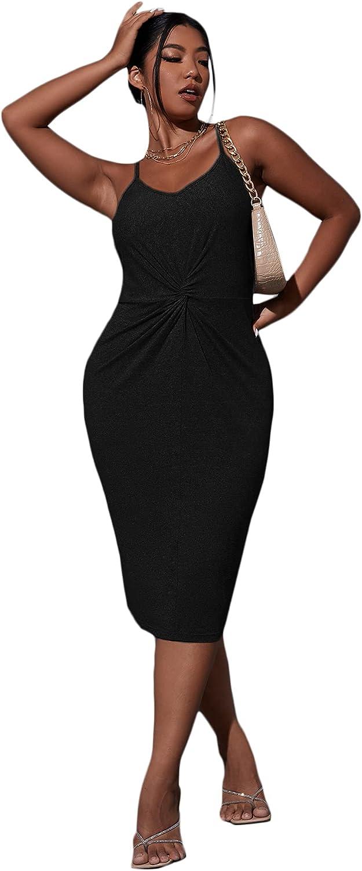 Milumia Women Plus Size Twist Front Backless Spaghetti Strap Bodycon Midi Cami Dress