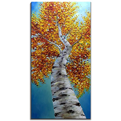 Yotree Paintings, 24x48 Inch Paintings Oil Hand Painting Yellow Birch in Autumn Painting 3D Hand-Painted On Canvas Abstract Artwork Art Wood Inside Framed Hanging Wall Decoration Abstract Painting