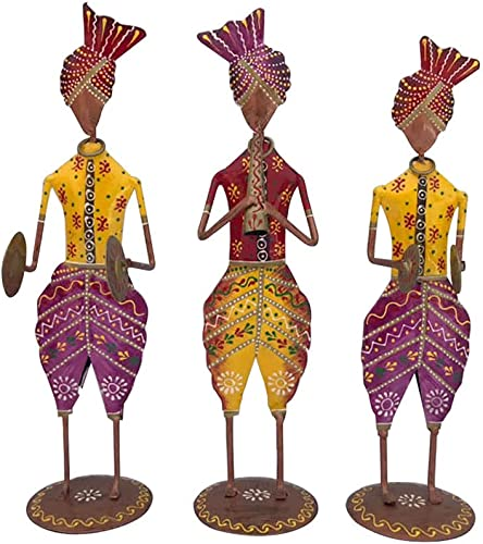 Musical Tribal Men Standing showpiece Table top for Home Decor Gifts Set of 3