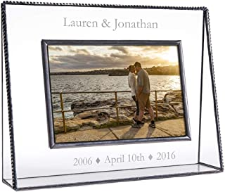 J Devlin Pic 319-46H EP549 Clear Engraved Glass Picture Frame Personalized Anniversary Engraved Glass 4x6 Horizontal Landscape Photo Frame 1st 5th 10th 15th 20th 25th 30th 40th 50th