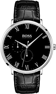 Hugo Boss Men's Black Dial Color Leather Strap Watch - 1513616