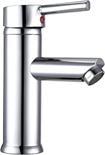Hapilife Basin Taps Mixers Bathroom Sink Tap Chrome with UK Standard Hoses Single Lever Hot and Cold Mixer Modern