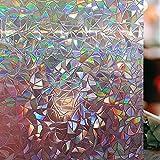 LEMON CLOUD 3D Vinilo para Ventana Vinilo Ventana Translucido Semi-Privacidad Decorativos Sin Pegamento Vinilo Adhesivo Efecto 3D Electristáticamente para Dormitorio Cocina Oficina Baño 44.5X200CM