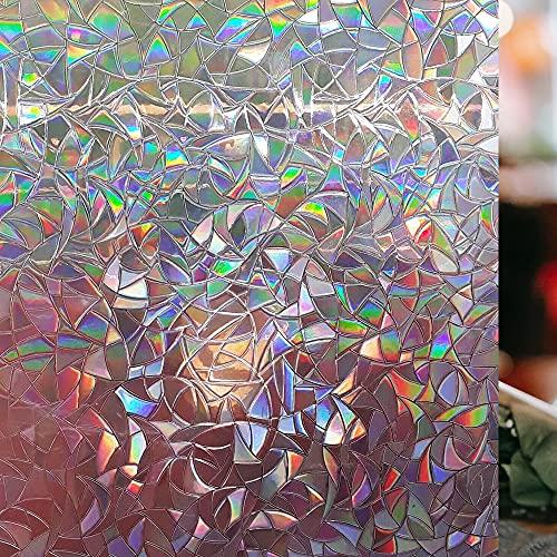LEMON CLOUD Fensterfolie Dekorfolie Sichtschutzfolie Blickdicht Hochwertige Ohne Klebstoffe 3D Regenbogenfarben Effekt unter Licht, Statisch Folie Anti-UV 90 * 400cm