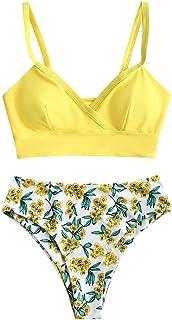 ZAFUL Conjunto de bikini para mujer push up de cintura alta, diseño floral