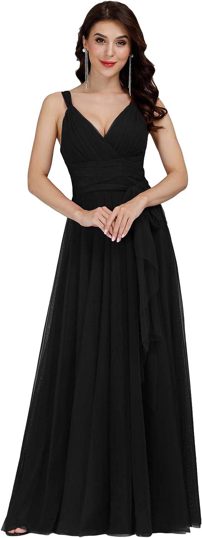 Ever-Pretty Women's Elegant V Neck Floor Low price A Length San Diego Mall Line Wa Empire