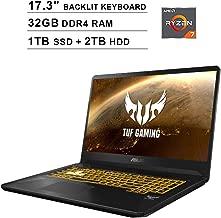ASUS TUF 17.3 Inch FHD 1080p Gaming Laptop - AMD Ryzen 7 3750H up to 4.0 GHz, NVIDIA GeForce GTX 1650 4GB, 32GB DDR4 RAM, 1TB SSD (Boot) + 2TB HDD, Backlit KB, WiFi, Bluetooth, HDMI, Windows 10