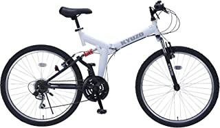 26インチ折りたたみマウンテンバイク 自転車の九蔵特注モデル 18段変速 グリップシフト フロントサスペンション リアサスペンション KYUZO KZ-104 (マットホワイト)