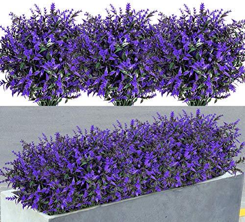 9 Bundles Artificial Lavender Flowers UV Resistant Plastic Fake Plants Flowers for Indoor Outdoor Home Garden Window Box Table Centerpieces Wedding Party Decor
