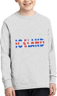 Iceland Men's Heritage Long Sleeve Tee Print Handcrafted Crew Neck Round Collar Work Wear No Pocket Youth Junior Unisex