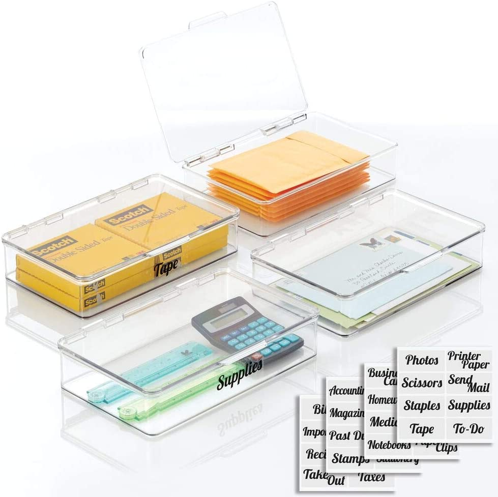 mDesign Plastic Stackable Home Storage Supplies Office Organize Super New color sale period limited