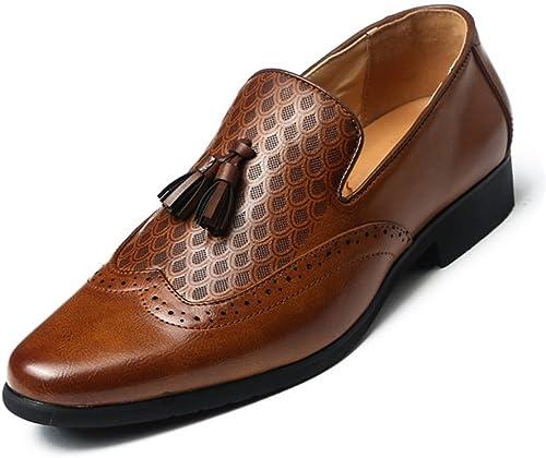 CHENDX Schuhe, Herren Business PU Leder verziert Quaste Slip-on Oxfords Kleid Schuhe Herren atmungsaktiv (Farbe   Braun, Größe   41 EU)