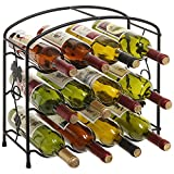 3-Tier Modern Grapevine Design Black Freestanding Metal Wine Storage Shelf Rack / 12-Bottle Display Holder