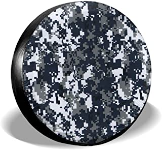 Navy Digital Camo Spare Tire Cover PVC Leather Dust-Proof Fit for Jeep,Trailer, RV, SUV and Many Vehicle