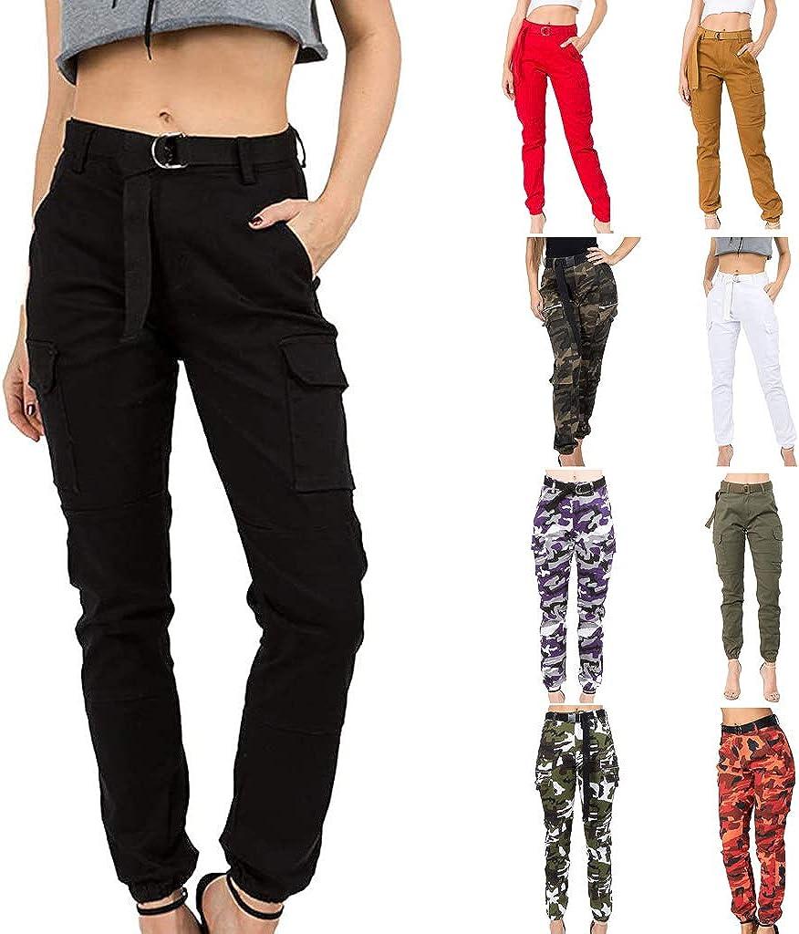 Women's OFFer High Waist Seasonal Wrap Introduction Slim Fit Jogger Cargo Calf w Pants Camouflage
