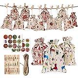 Calendario de Adviento, 24 calendarios de Adviento para rellenar, 1 – 24 pegatinas de Adviento, bolsas de regalo de Navidad para manualidades, hombres y niños