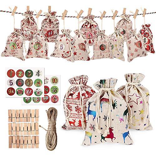 Adventskalender, 24 Adventskalender zum Befüllen, 1-24 Adventszahlen Aufkleber, Weihnachten Geschenksäckchen Säckchen für DIY Handwerk Männer Kinder